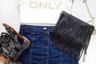 visionas Fashion Darling im August Jeans Rock mit Knopfleiste von Pimkie