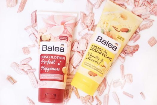 Balea Duschlotion Perfect Happiness und Duschpeeling Vanille Mandel Limited Edition