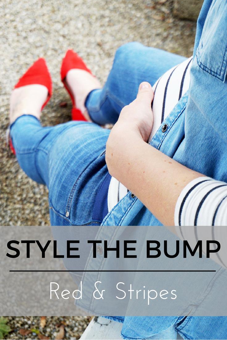Schwangerschaftsoutfit Streifen und roten Schuhen
