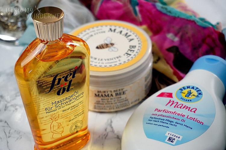 Körperpflege in der Schwangerschaft mit frei öl, Penaten Mama und Mama Bee