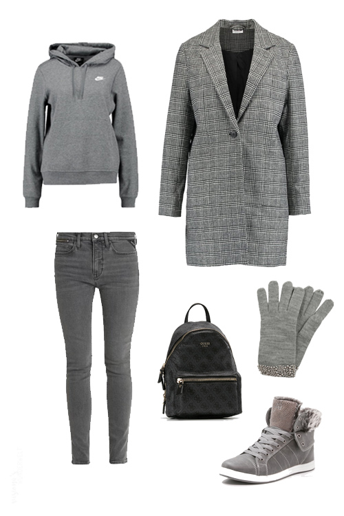 look book november trend monochrome winter outfits grau hoodie karo mantel