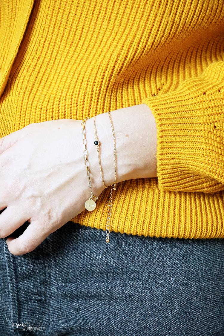 Accesoires Trends in meiner Herbst Capsule Wardrobe 2019 Chain Schmuck in Kettenoptik Armband Layering