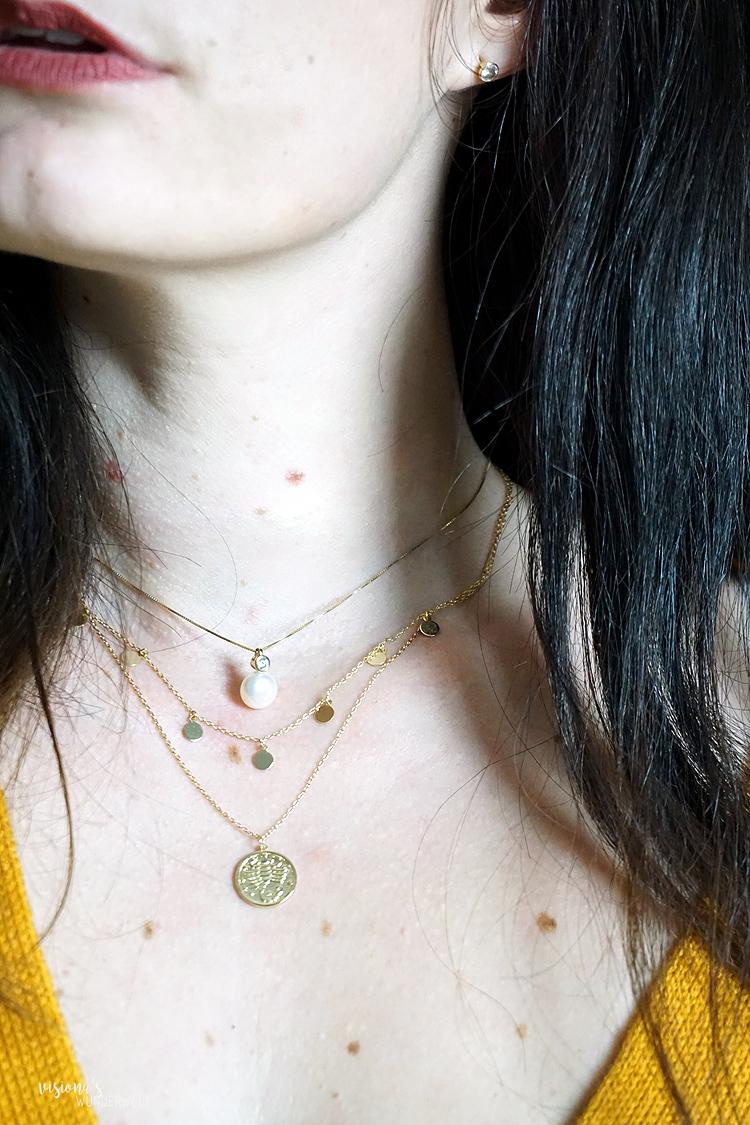 Accesoires Trends in meiner Herbst Capsule Wardrobe 2019 Ketten mit Perlen im Layerin Style